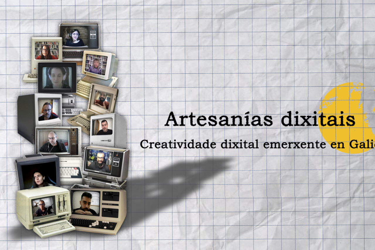 Imaxe principal do webdoc Artesanías Dixitais, na que se poden ver, en miniatura, imaxes das doce profesionais que aportan o seu testemuño ao vídeo interactivo