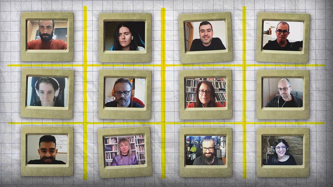 A imaxe recolle as fotografías das doce profesionais que participan no webdoc Artesanías Dixitais: media ducia de creadoras e creadores de contidos dixitais en Galicia