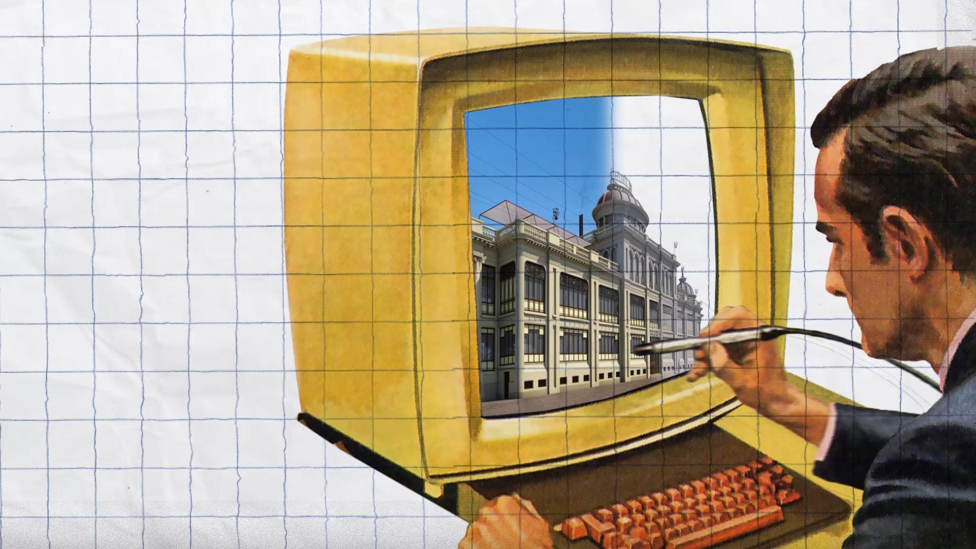 A imaxe recolle un frame do vídeo interactivo Artesanías Dixitais sobre un dos traballos que recolle o webdoc: a reconstrución de espazos históricos en 3D