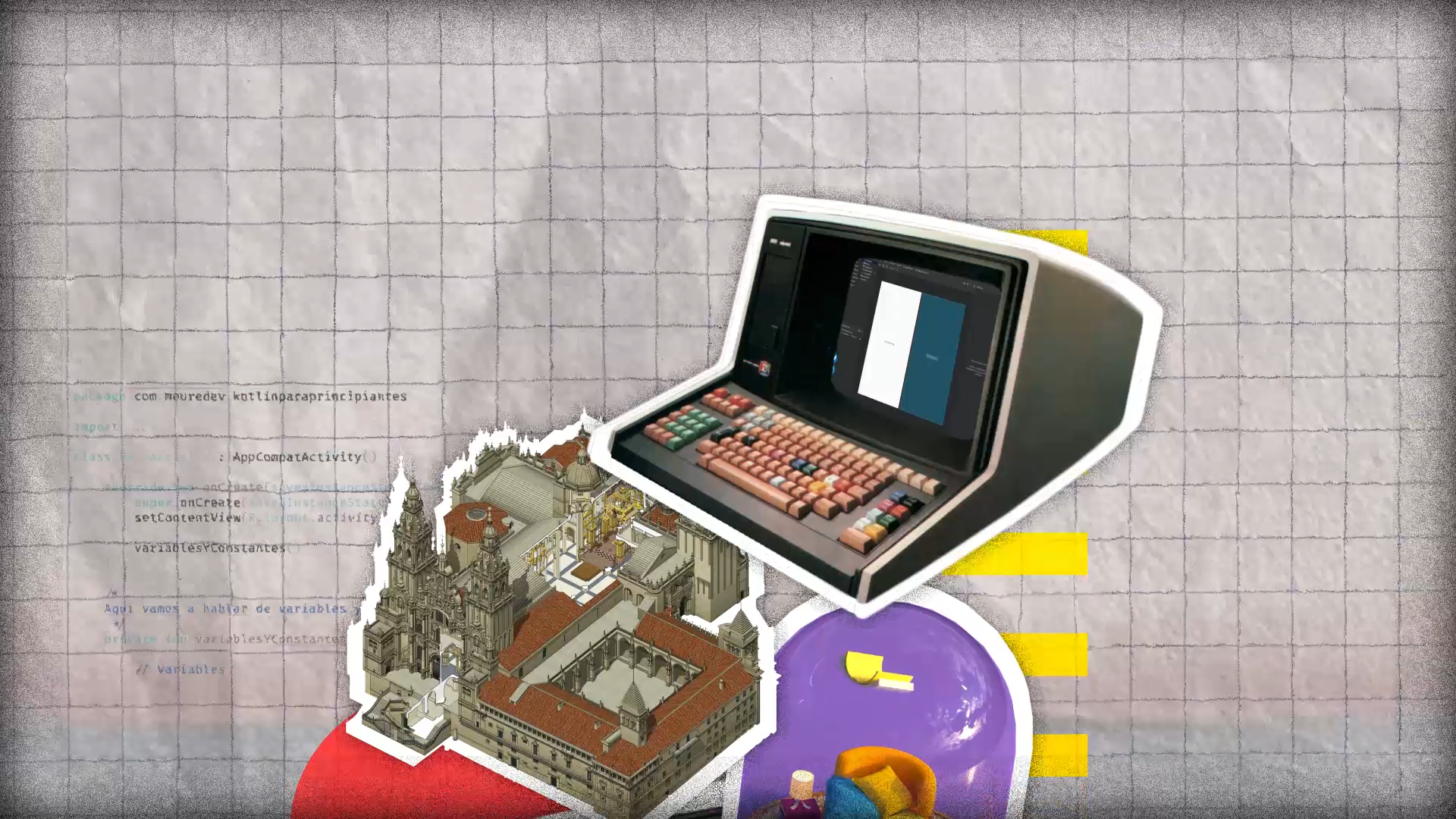 A imaxe, extraída do webdoc Artesanías Dixitais, fai referencia ao proceso de desenvolvementocreativo, no que se mesturan debuxo, ferramentas de deseño e tecnoloxía