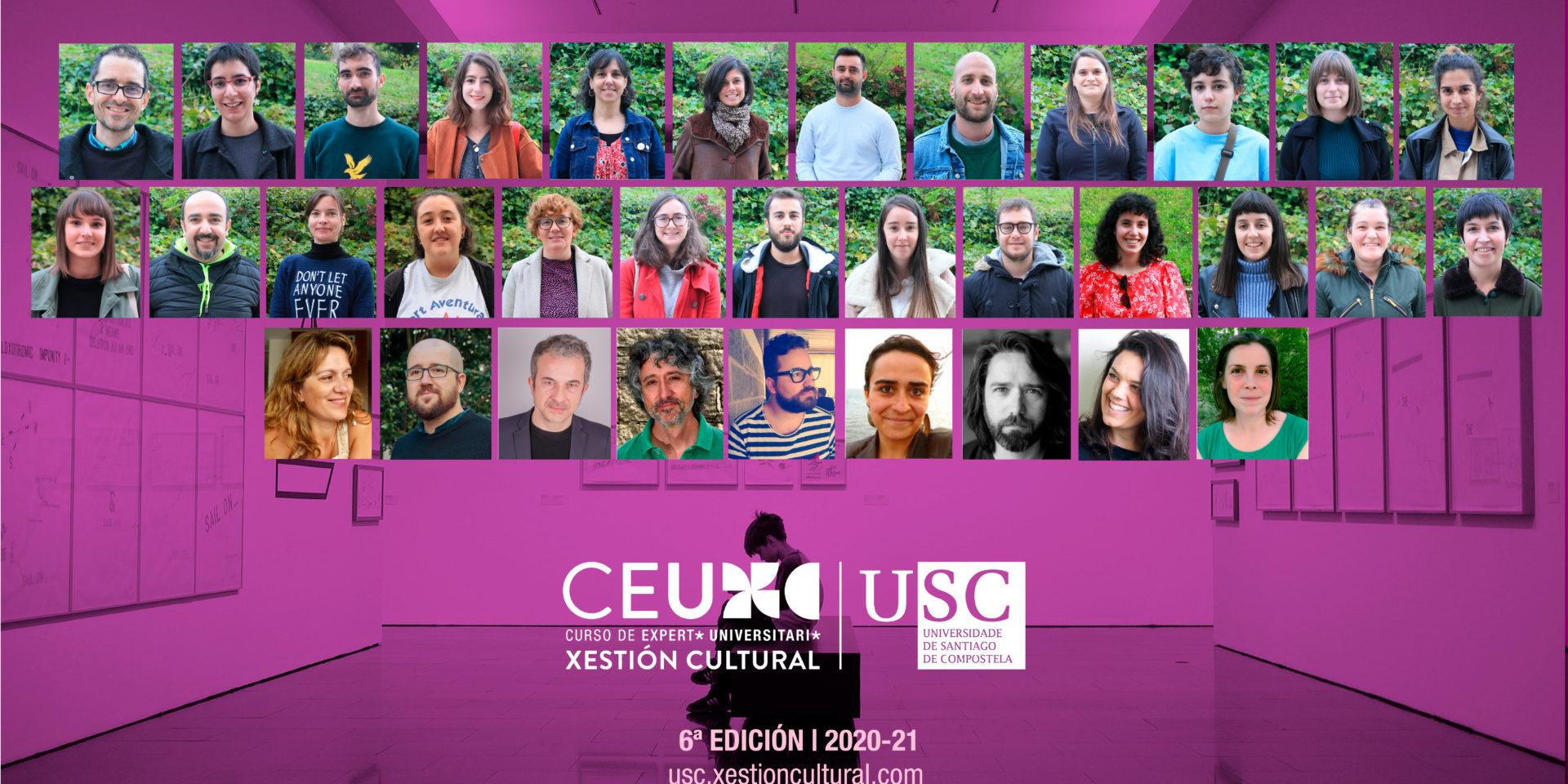 A imaxe é unha suma de fotos individuais, tanto de alumnos e alumnas da sexta edición do CEU en Xestión Cultural, como do equipo docente e promotor. As fotografías están colocadas ao estilo dunha orla, sobre a imaxe corporativa, en ton maxenta, do Curso